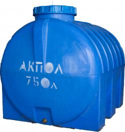 Бочка пластиковая горизонтальная 750 литров для воды в Краснодаре